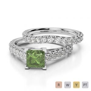 Gold / Platinum Round and Princess cut Green Tourmaline and Diamond Bridal Set Ring AGDR-2007