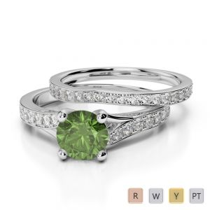 Gold / Platinum Round cut Green Tourmaline and Diamond Bridal Set Ring AGDR-2011