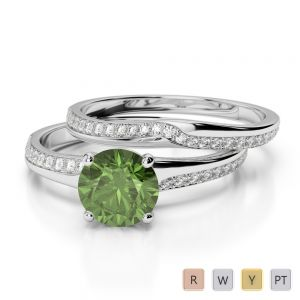 Gold / Platinum Round cut Green Tourmaline and Diamond Bridal Set Ring AGDR-2015
