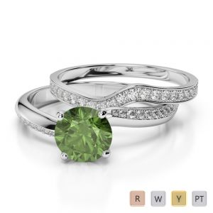 Gold / Platinum Round cut Green Tourmaline and Diamond Bridal Set Ring AGDR-2017