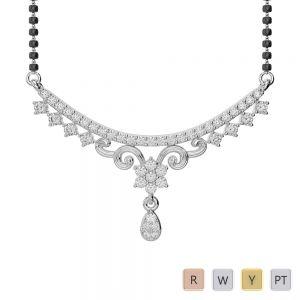 Gold / Platinum Diamond Mangalsutra Necklace DNC-1729