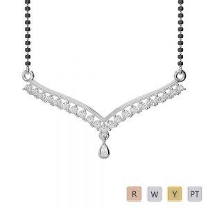 Gold / Platinum Diamond Mangalsutra Necklace DNC-1735
