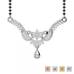 Gold / Platinum Diamond Mangalsutra Necklace DNC-1737