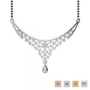 Gold / Platinum Diamond Mangalsutra Necklace DNC-1739