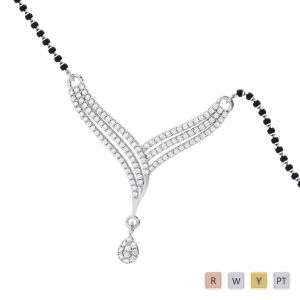 Gold / Platinum Round Cut Diamond Mangalsutra TZ0334