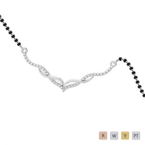 Gold / Platinum Round Cut Diamond Mangalsutra TZ0343