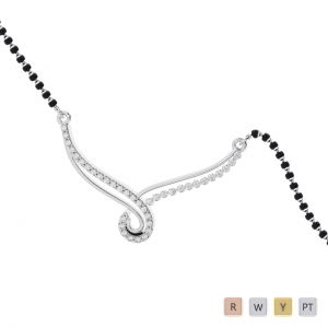 Gold / Platinum Round Cut Diamond Mangalsutra TZ0348
