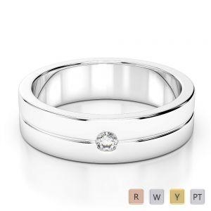 Gold / Platinum Diamond Mens Wedding Ring 5 mm AGDR-1265