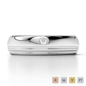 Gold / Platinum Diamond Mens Wedding Ring 5 mm AGDR-1267