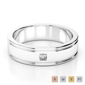 Gold / Platinum Diamond Mens Wedding Ring 5 mm AGDR-1268