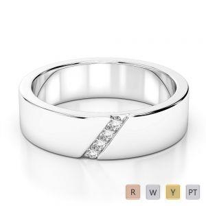 Gold / Platinum Diamond Mens Wedding Ring 5 mm AGDR-1269