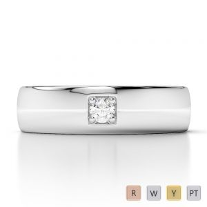 Gold / Platinum Diamond Mens Wedding Ring 5 mm AGDR-1271