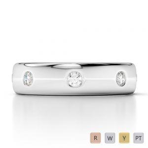 Gold / Platinum Diamond Mens Wedding Ring 5 mm AGDR-1272