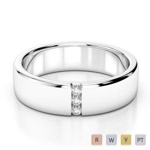 Gold / Platinum Diamond Mens Wedding Ring 5 mm AGDR-1273
