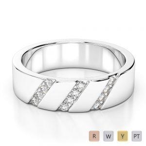 Gold / Platinum Diamond Mens Wedding Ring 5 mm AGDR-1275
