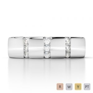 Gold / Platinum Diamond Mens Wedding Ring 5 mm AGDR-1276