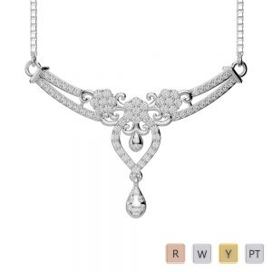 Gold / Platinum Diamond Necklace with Chain DNC-1725