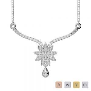 Gold / Platinum Diamond Necklace with Chain DNC-1727