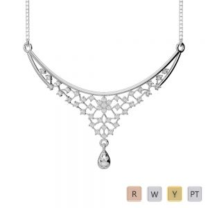Gold / Platinum Diamond Necklace with Chain DNC-1739