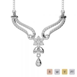 Gold / Platinum Diamond Necklace with Chain DNC-2183