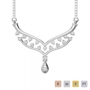 Gold / Platinum Diamond Necklace with Chain DNC-2187
