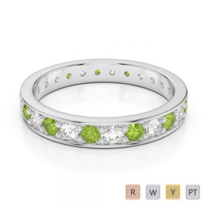 3 MM Gold / Platinum Round Cut Peridot and Diamond Full Eternity Ring AGDR-1080