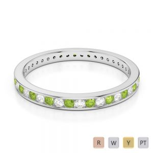 Gold / Platinum Round Cut Peridot and Diamond Full Eternity Ring AGDR-1086