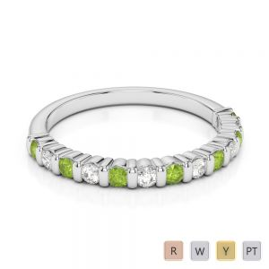 Gold / Platinum Round Cut Peridot and Diamond Half Eternity Ring AGDR-1095