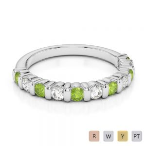 Gold / Platinum Round Cut Peridot and Diamond Half Eternity Ring AGDR-1096