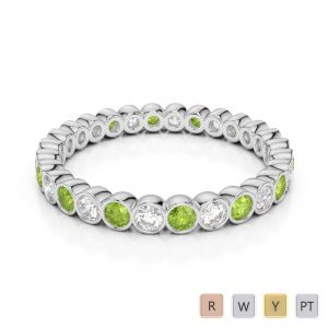 2.5 MM Gold / Platinum Round Cut Peridot and Diamond Full Eternity Ring AGDR-1099