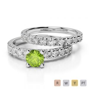 Gold / Platinum Round cut Peridot and Diamond Bridal Set Ring AGDR-1144