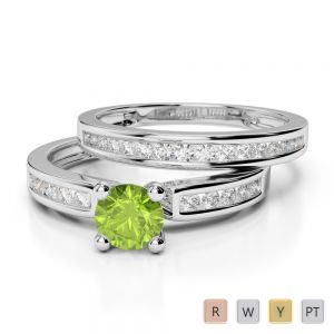 Gold / Platinum Round cut Peridot and Diamond Bridal Set Ring AGDR-1157