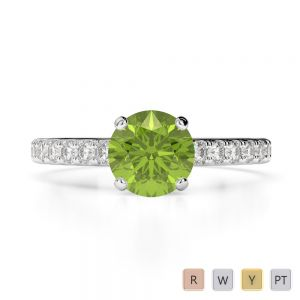 Gold / Platinum Round Cut Peridot and Diamond Engagement Ring AGDR-1201