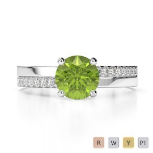 Gold / Platinum Round Cut Peridot and Diamond Engagement Ring AGDR-1206