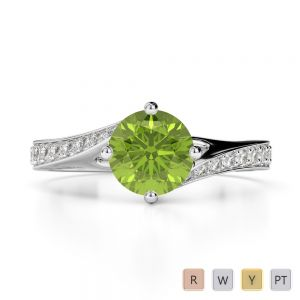 Gold / Platinum Round Cut Peridot and Diamond Engagement Ring AGDR-1207