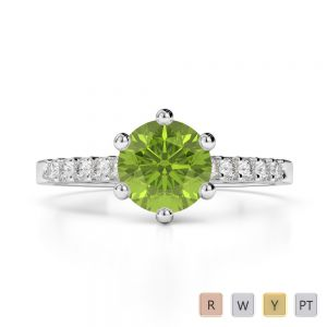 Gold / Platinum Round Cut Peridot and Diamond Engagement Ring AGDR-1208