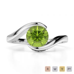 Gold / Platinum Round Cut Peridot and Diamond Engagement Ring AGDR-1209