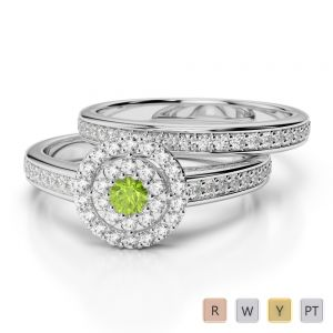 Gold / Platinum Round cut Peridot and Diamond Bridal Set Ring AGDR-1239