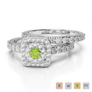 Gold / Platinum Round cut Peridot and Diamond Bridal Set Ring AGDR-1246