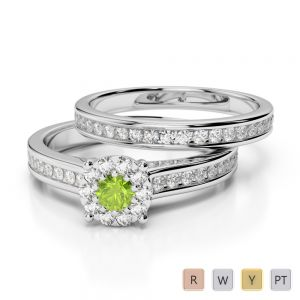 Gold / Platinum Round cut Peridot and Diamond Bridal Set Ring AGDR-1339