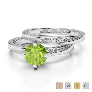 Gold / Platinum Round cut Peridot and Diamond Bridal Set Ring AGDR-2001