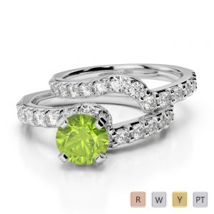 Gold / Platinum Round cut Peridot and Diamond Bridal Set Ring AGDR-2003