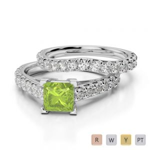 Gold / Platinum Round and Princess cut Peridot and Diamond Bridal Set Ring AGDR-2007