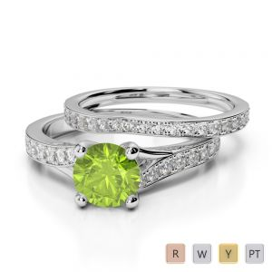 Gold / Platinum Round cut Peridot and Diamond Bridal Set Ring AGDR-2011