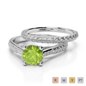 Gold / Platinum Round cut Peridot and Diamond Bridal Set Ring AGDR-2013