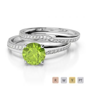 Gold / Platinum Round cut Peridot and Diamond Bridal Set Ring AGDR-2015