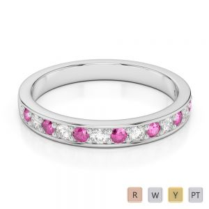 Gold / Platinum Round Cut Pink Sapphire and Diamond Half Eternity Ring AGDR-1083