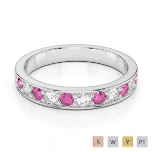 3 MM Gold / Platinum Round Cut Pink Sapphire and Diamond Half Eternity Ring AGDR-1084