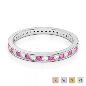 2.5 MM Gold / Platinum Round Cut Pink Sapphire and Diamond Full Eternity Ring AGDR-1086