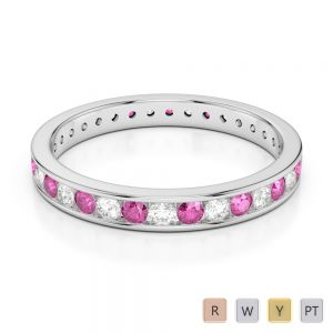 3 MM Gold / Platinum Round Cut Pink Sapphire and Diamond Full Eternity Ring AGDR-1087